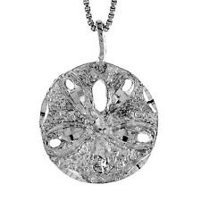 "Sterling Silver Sand Dollar Pendant / Charm, 18"" Italian Box Chain"
