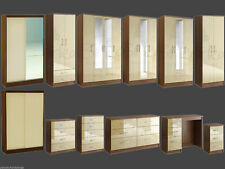 Birlea Lynx Walnut and Cream Gloss Bedroom Furniture Wardrobe Chest..Large Sizes