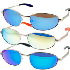 Men's Mirrored Sport Sunglasses Full Mirror Bright Colored Lens Metal Frames