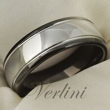 Black Mens Tungsten Carbide Ring Wedding Band 8mm Shiny Bridal Jewelry Size 6-13