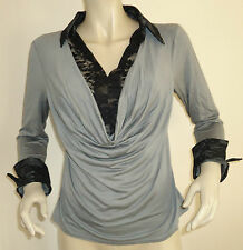 NEW LADIES GREY/BLACK LILI JERSEY LACE COWL NECK TOP SIZES 10 & 14