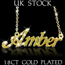 AMBER NAME NECKLACE 18ct Gold Plated Personalised Gifts Jewelry Arabic/Muslim