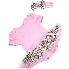 Baby Infant Light Pink Romper Baby Dress Jumpsuit Pink Leopard Skirt NB-12Month