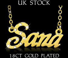 SANA NAME NECKLACE 18ct Gold Plated Personalised Gifts Jewelry Arabic/Muslim