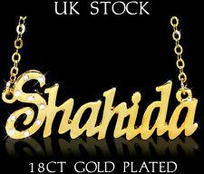 SHAHIDA NAME NECKLACE 18k Gold Plated Asian/Arabic Personalised Jewellery Gifts