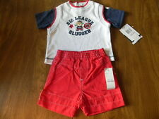 Baby Q Baby Boys 3/6 or 6/9 Months Red White Blue 2 Piece Baseball Short Set NWT