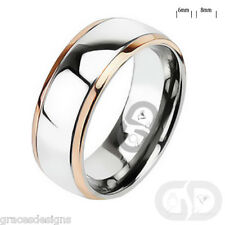 Mens Solid Titanium Bridal Wedding Engagement Band Rose Gold IP Edged Dome Ring