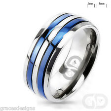 Mens Solid Titanium Bridal Wedding Engagement Band Blue IP Double Striped Ring