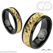 Solid Titanium Wedding Engagement Bridal with a Gold Accented Band on Black Ring
