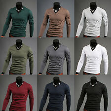 Men's long sleeve v neck t shirt for men v-neck sweater jumper UK Sz S M L XL