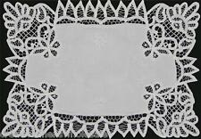 """Battenburg Lace White Fabric Placemat 12x18"""" or 14x20"""" Hand Embroidery"""