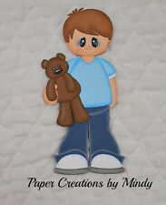 Boy with Teddy Bear- Premade paper piecing for scrapbooking, you pick hair color