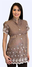 Cute brown and white short sleeve maternity top (Free Shipping)