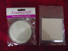 Blank Clear Acrylic Coasters - Various Quantities & Choice of Round or Square