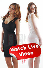 Womens Ladies Sexy Strapped Formal Fitted Knee Length White Black Dress Skirt
