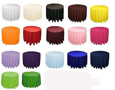 12 Round 132 Inch Tablecloths 100% Polyester 25 Colors Wholesale Table Top Event