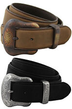 "Western 7's Antique Silver Buckle Set Leather Belt 1-1/2"" Wide New Black Brown"