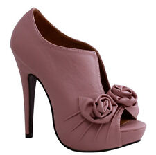 NEW WOMEN'S FLOWER PEEP TOE FRONT PLATFORM STILETTO HIGH HEEL COVERED PUMP PINK