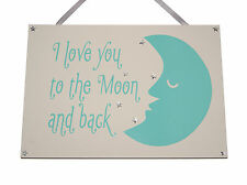 I Love you to the moon and back Handmade wooden plaque -  keepsake or gift