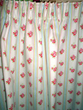 """PENCIL CURTAINS each 53"""" WIDE in CATH KIDSTON ROSE STRIPE cotton duck"""