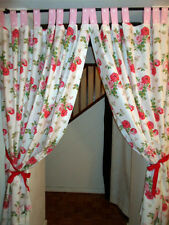 """TAB CURTAINS each 45"""" w made in CATH KIDSTON ANTIQUE ROSE BOUQUET WHITE cotton"""