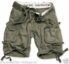 SURPLUS ARMY MENS DIVISION CARGO SHORTS COMBAT KNEE LENGTH & DELUXE BELT OLIVE