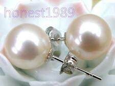Pretty AAA+++ perfect round white akoya pearl stud earring solid 14K white gold