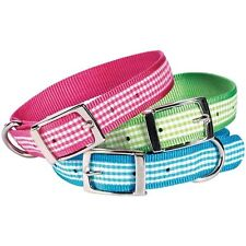 Dog Collar Gingham Adjustable Nickel-Plated Buckles
