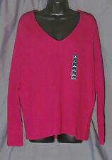 St John's Bay, Melrose Fuchsia, Long Sleeve, V-neck Top, New with Tags