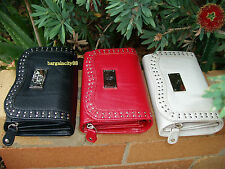 New FIB Womens Lady M Bifold Studded Leather Wallet/note ID card zip coin holder