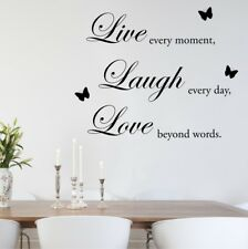 LIVE LAUGH LOVE butterflies wall stickers quote bedroom wall decal