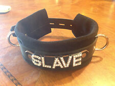 Leather locking buckle choker collar custom made SLAVE or any word. Suede