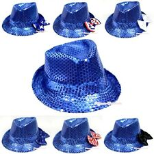 Royal Blue Sparkle Sequins Summer Trendy Jazz Hat with Satin Bow for Girl Kids