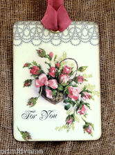 Hang Tags  FOR YOU FLORAL ROSE BASKET TAGS or MAGNET #397  Gift Tags