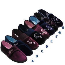 WOMENS COMFORT SLIPPERS SLIP ON GIRLS FLAT VELCRO MULES LADIES SHOES UK SIZE 3-8