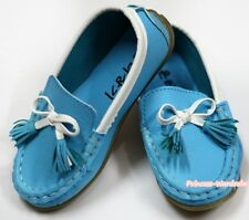 Peacock Blue White Tassel Bows Slip On Deck Boat Shoes Kids Girls SE007