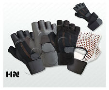 FITNESS LEATHER GLOVES PADDED WEIGHT LIFTING TRAINING BODY BUILDING GYM STRAPS