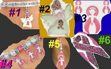 PINK CANCER Awareness Angel Cross Ribbon Walk Faith God Religious Mother Jewelry