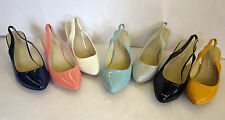 LADIES SLINGBACK PATENT SHOES ( SPOT ON F9645)