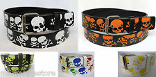 New Skull & Crossbones Printed Leather Belt Unisex Mens & Womens Goth Punk