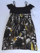 NWT TAHARI DAVIS DRESS SHORT SLEEVE  BLACK YELLOW MSRP $348.00 BEAUTIFUL