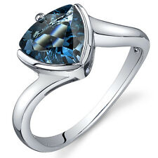 Trillion Cut 2.00 cts London Blue Topaz Ring Sterling Silver Sizes 5 to 9