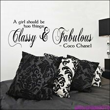 CLASSY AND FABULOUS WALL  STICKER 60cm - COCO CHANEL BEDROOM QUOTE DECAL AFC6