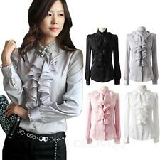 Silky Ladies Blouse Long Sleeve Top Lace Collar Ruffle Satin Shirt Sz 8 6 4 2 0