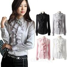 vintage Silky Ladies Blouse Long Sleeve Top Lace Collar Ruffle Satin Shirt Size