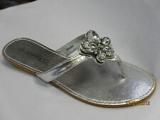 Ladies Flat Diamante Sandals Womens jewelled Summer Fancy Beach Shoes Size 3-8