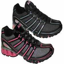 NEW LADIES TRAINERS WOMENS BLACK SPORTS RUNNING JOGGING GYM WALKING SHOES SIZES