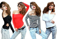 2013 New Korean Style Womens Long Sleeve Sexy Slim T-Shirt Tops Boat Neck Blouse