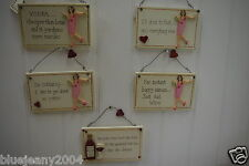 Assorted Funny Wall Plaque Sign, Girl Or Woman Drinking Gift
