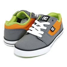 DC KIDS OLDER BOYS YOUTH SKATE SHOES BRISTOL CANVAS GREY / ORANGE